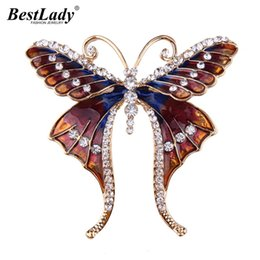 Wholesale vintage butterfly pins brooches - Best lady Vintage Butterfly Rhinestone Crystal Trendy Brooches Women New Bohemian Statement Scarf Pins Brooches Shoulder Jewelry