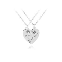 db435e6cae Ladybug BFF Necklaces broken 2 Best Friend Necklaces Stitching heart 2  necklace graduation gift collar for friendship children broken heart  friendship ...