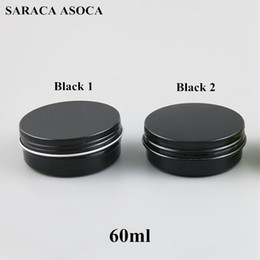 aluminum metal boxes Promo Codes - 60ml Empty Refillable Aluminum Jars 60g Black Gold Metal Tin Cosmetic Containers Crafts Packaging Small Aluminum Box 100pcs lot