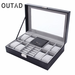 Wholesale black leather jewelry displays - 2 In One 8 Grids+3 Mixed Grids PU Leather Watch Case Storage Organizer Box Luxury Jewelry Ring Display Watch Boxes Black top New