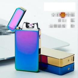 Ligero ultra delgado online-Encendedor electrónico a prueba de viento DUAL arco ultra-delgada de metal pulso eléctrico recargable USB sin llama del cigarrillo del cigarro fumadores ligeros