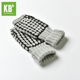Gants tricotés gris en Ligne-2018 Printemps KBB Soft Light Grey Noir Boxe Stripe Design De Mode Hommes Enfants Femmes Tricot Hiver Sans Doigts Gants Mitten