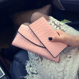Wholesale Buy Leather Wallet - Real leather purse lady's long 30% purse 2018 new crocodile print Korean version fashion wallet buy one get one free
