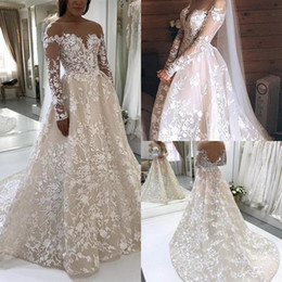 nude dresses Promo Codes - Charming Luxury Wedding Dresses Ivory Lace Embroidery Nude Tulle Neckline Long Sleeves Champagne Court Train Wedding Gowns