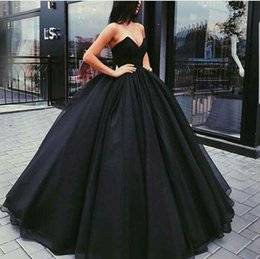 Wholesale Simple Elegant Cheap Ball Gowns - Simple Elegant Black A Line Satin Evening Dresses 2018 Sweetheart Ball Gown Long Prom Gowns Cheap Formal Pageant Gowns