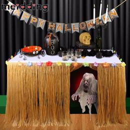 хавайские юбки Скидка Экологичный 1шт оранжевый / зеленый Luau Grass Hula Таблица Юбка Таблица Runner Diy День рождения Свадьба Хэллоуин Pool Party Hawaii Party Decor