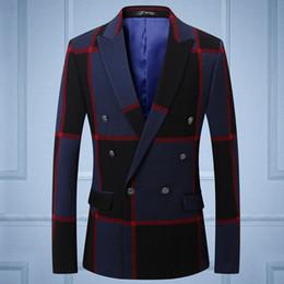 Wholesale Designer Suit Groom Men - 2018 New Groom Wedding Suits Blazer Mens Striped jacket Print Double-breasted Suit Jackets Designer Mens Suit Blazer S-3XL