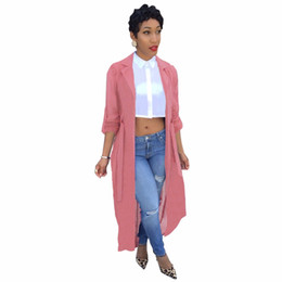 transparente frauen volles kleid Rabatt Fashion Full Sleeve Trenchcoat Strickjacke Chiffon Transparent Schärpe Frauen Lose Mantel Outwear Robe Langes Kleid Rosa Schwarz Grün