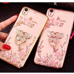 Cassa del telefono p8 online-Bling Peacock Diamond Ring Holder Custodia per cellulare Crystal TPU flessibile per Huawei P8 P9 P10 Plus mate 7 8 9 con cavalletto