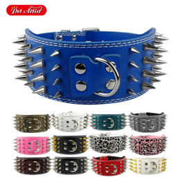 """Wholesale Wide Leather Dog Collars - 3"""" Wide Sharp Spiked Studded Pu Leather Dog Pet Collar with D-ring For Pitbull Mastiff More Breeds 7 Color"""