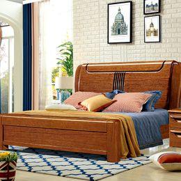 Muebles de nogal dorado 1,8 metros de la nueva cama china de madera maciza moderna Dormitorio simple Cama doble desde fabricantes