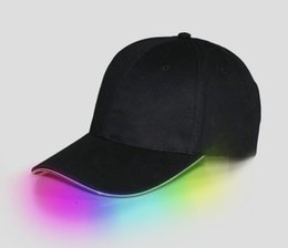 Wholesale Black Selection - LED Light Hat Glow Hat Black Fabric For Adult Baseball Caps Luminous 7 Colors For Selection Adjustment Size Xmas Party