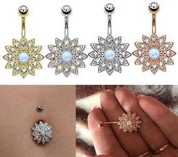 Wholesale Titanium Belly Jewelry - Sun Flower Petal Navel Piercing Silver Pink Crystal Belly Button Rings Body Pircing Navel piercing Jewelry G88L