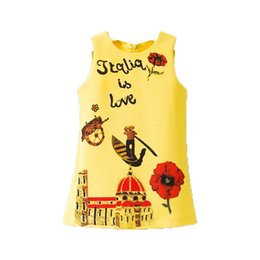Wholesale Children Korean Dresses - Everweekend Kids Girls Korean Fashion Flowers Letter Princess Dress Yellow Color Print Children Girls New Dress