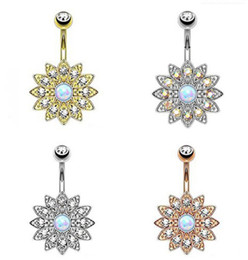 vintage christmas bells Promo Codes - 4 color Sun Flower Petal Navel Piercing Crystal Belly Button Rings Vintage Body Piercing Navel piercing Jewelry G88L