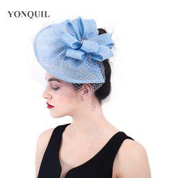 fascicolatori dei capelli Sconti Capelli fascinator cappello derby royal grandi copricapo veli con anelli accessori per capelli su fermagli per capelli per donne signore copricapo da sposa SYF366