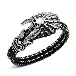 Wholesale skull indian - Fashion Jewelry Double leather Bracelet Casual Personality Rock Punk Titanium steel Skull Bracelet for men Free shipping 2018 new in stock