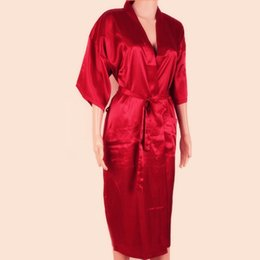 Wholesale Men S Silk Pajama - New Red Chinese Men Sexy Silk Robes Solid Color Kimono Bath Gown Rayon Nightwear Male Pajama Plus Size S M L XL XXL XXXL S0026