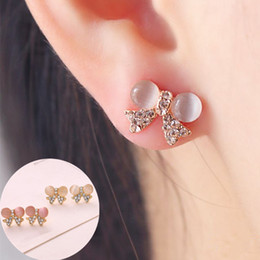 Deutschland C018 Pendientes Fashion New Korean Frauen Cute Jewelry Opal Fliege Kristall Ohrstecker Exquisite Strass Zubehör Versorgung