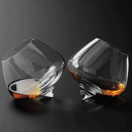 Balançoires en Ligne-2pcs / set cristal verre à vin tasse oscillant Whisky VERRES- Esprit Boire Tumble Transparent Verres Boisson Cocktail titulaire de la bière 250 ml