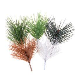 Wholesale Wholesale Pine Needles - 5pcs Artificial Plant Plastic Pine Needles Section Small Tree Needle pine Festive supplies Home decoration Diy Craft 5 Colors