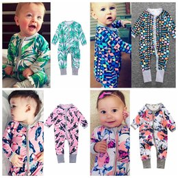 Wholesale Romper Long Sleeves Girls Boys - Hot Bamboo leaf print Baby Romper Fashion Printed Long Sleeve zipper closure romper Spring Autumn Cotton Toddler Jumpsuit 16 styles