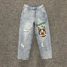 Wholesale Flying Dogs - Europe in spring 2018 fashion show thin waist embroidery dog hole jeans trousers female Haren pants