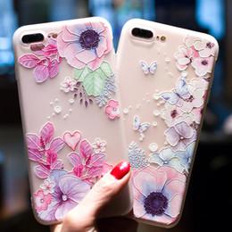 jolie couverture d'iphone Promotion Joli motif de téléphone en relief à motif de fleur pour iPhone 6 6s Silicone souple Protéger Floral Couverture souple pour iPhone 7 8 Plus X pour Samsung S8 S8plus