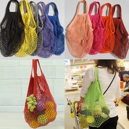 Wholesale Cotton Vegetable Bags - Fashion String Shopping Fruit Vegetables Grocery Bag Shopper Tote Mesh Net Woven Cotton Shoulder Bag Hand Totes Home Storage Bag DHL WX9-365