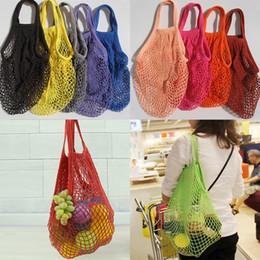 Wholesale Vegetable Storage Bags - Fashion String Shopping Fruit Vegetables Grocery Bag Shopper Tote Mesh Net Woven Cotton Shoulder Bag Hand Totes Home Storage Bag DHL WX9-365