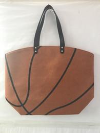 Wholesale Casual Canvas Hand Bags - 19 Colors Canvas Sports Shoulder Bag Tote Basketball Baseball Softball Soccer Print Casual Handbag Larger Capacity Beach Hand Bags