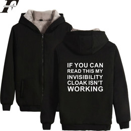 Wholesale Invisible Clothing - Fashion And Cool Hoodies Invisible Cloak Men Women Zipper Hoodies Sweatshirt Women Men Letter Anime Cotton Fluff Thicken Clothes