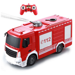 Wholesale Remote Controlled Jet - Water spray RC Truck 2.4G Radio Control Construction Car RC Fire Truck Remote Control Water Jet Fire Engine For Kids Gift Toys