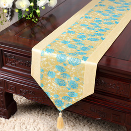 Wholesale Floral Table Runners - Lengthen Silk Satin Floral Table Runner Modern Jacquard Damask Tablecloth Rectangular Dining Table Mat Insulation Pad 230x33 cm