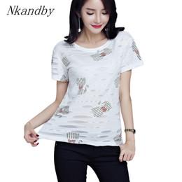 cbd2c448335 Nkandby Plus size Hole Lady T shirts Summer Korean Clothing Women Cat  Printing Short sleeve Large Maiden Tops Round Tshirt