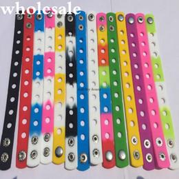 Wholesale Wristband Pvc - Hot sale Fashion bands 28PCS LOT 18cm PVC wristbands charm bracelets Mix 14colors Jewelry decoration fit shoe charms Kids Accessories gifts