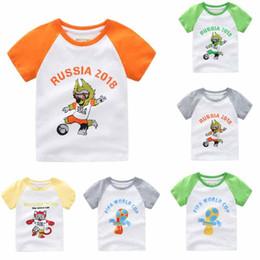 Wholesale choice cartoon - 16 choices 2018 World Cup FIFA World cup Kids t shirt short Sleeve cartoon 2018 football print t shirt kid baby summer Zabivaka T shirt