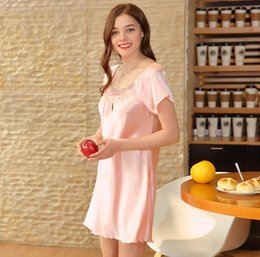 Wholesale Ladies Pajamas Xl - Yao Ting SupplySpinning silk pajamas Lady summer silk home sexy short sleeve nightdress