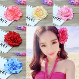 Broche de flores de cabelo on-line-Moda 6 estilos Simulação Rose Hairpin Seaside Sandy Beach Mulher Broche Flor Simulação Rose Flor Mulheres Pin Cabelo T6I054