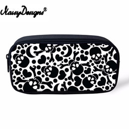 Caja de lápices de niños niñas online-Cartoon Skull School Pencil Bags Girls Estuche cosmético para mujeres Kawaii Kids Pencil Box Pouch Travel Women Maquillaje Bolsas