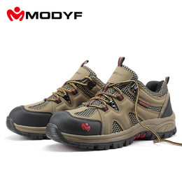 Wholesale Steel Toed Boots - men Fall Winter steel toe cap work safety shoes casual breathable outdoor hiking boots puncture proof footwear M150104