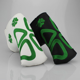 Wholesale Leaf Blade - four-leaf clover embroidery Golf putter headcover T type blade Golf club cover white black Golf putter club head cove