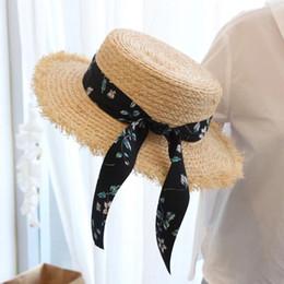 LunaDolphin Donna Summer Beach Rafia nera bianca Flower Ribbon Hat Bow  Rafia cappello piatto cappelli di paglia da donna Sea Beach eb75404b5b37