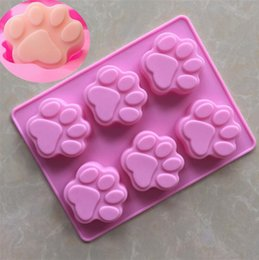 Wholesale Cookie Ice - Cat Paw Print Bakeware Silicone Mould Bear Chocolate Paw Mold Cookie Candy Soap Resin Wax Mold DIY Cake Decorating Tools OOA5035