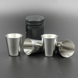 Wholesale Stainless Steel Small Crosses - Stainless Steel Wine Glasses 4pcs Set Liquor Mugs Whisky Vodka 1 oz small wine cup Outdoor portability Drinkware With Leather Cover Bag