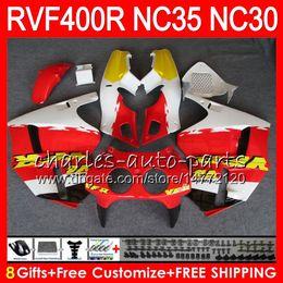 Carenado vfr amarillo online-RVF400R para HONDA VFR400 R NC30 V4 VFR400R 89 90 91 92 93 82HM21 RVF VFR 400 R NC35 VFR 400R 1989 1990 1991 1992 1993 Carenados amarillo rojo