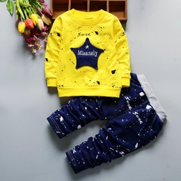 Wholesale Children Hip Hop Costumes - Spring Kids Clothes Star Printing Hip Hop Costume For Girls Children Clothing Full Length Cotton Casual Toddler Boys Clothing