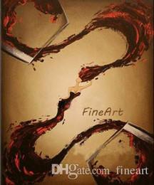 peonías pinturas china Rebajas Pintado a mano sobre lienzo arte de la pared de vidrio de vino moderno lienzo pintura al óleo decoración de la botella de lienzo arte de la pared decorativos fotos de pared regalo único