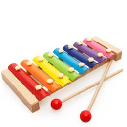 Xilofones de madeira on-line-De madeira Montessori Crianças brinquedo educacional oitava bater na batida de piano xilofone música pré-escolar enigma brinquedos