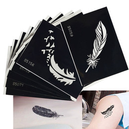 Wholesale Temporary Tattoo Stencil Sheets - 1 Sheet Fashion Tattoo Feather Decal Hollow Stencil Women Body Art Makeup Tool Temporary Tattoo Drawing Template Sticker LA434